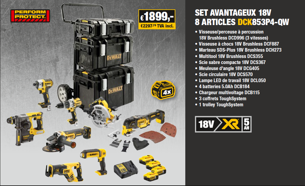 18v Combopack 8 Machines Dck853p4qw Combopack 8 Dck853p4qw 18v Machines roxBWCed